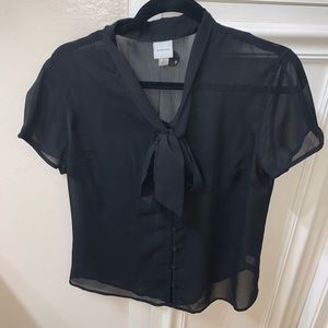 Merona Black Blouse with front tie. Size Large